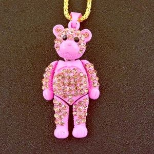 NWT Betsey Johnson Pink Rhinestone Bear Necklace